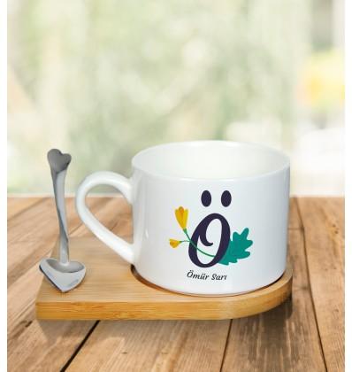 Sınıf Öğretmenlerine Özel Tasarım Metal Kaşıklı Kahve Fincanı