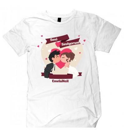 Seni Seviyorum Tasarımlı Beyaz T-Shirt