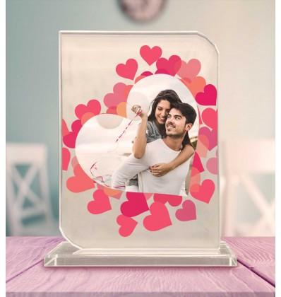 Sevgiliye Özel Fotoğraflı Dik Kalp Kristal Cam Çerçeve