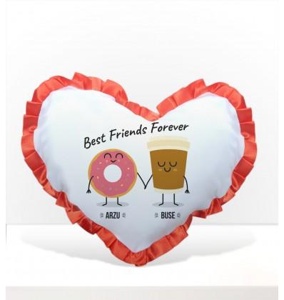 Kahve ve Çörek Kırmızı Fırfırlı Arkadaş Kalp Yastık