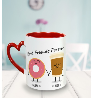 Kahve ve Çörek Arkadaşa Özel Kalp Kulpu Kupa