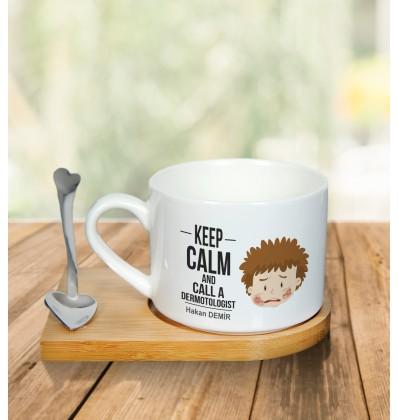 Doktora Özel Metal Kaşıklı Kahve Fincanı (Aile Hekimi)